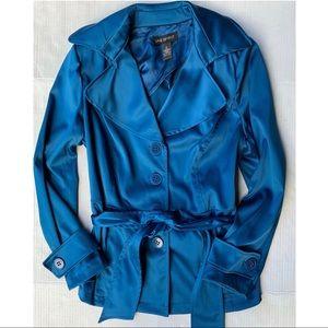 Lane Bryant Blue Satin Peacoat Jacket Size 14